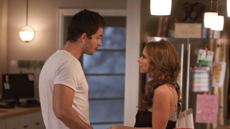"Brian Hallisay as Kyle Parks and Jennifer Love Hewitt as Riley Parks in ""The Client List."""