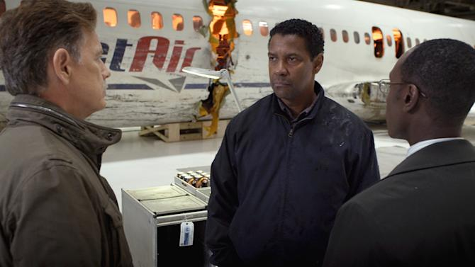"This film image released by Paramount Pictures shows, from left, Bruce Greenwood as Charlie Anderson, Denzel Washington as Whip Whitaker and Don Cheadle as Hugh Lang in a scene from ""Flight."" (AP Photo/Paramount Pictures)"