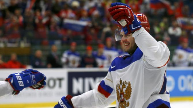 Russia's Dadonov celebrates his goal against Slovenia during their Ice Hockey World Championship game at the CEZ arena in Ostrava