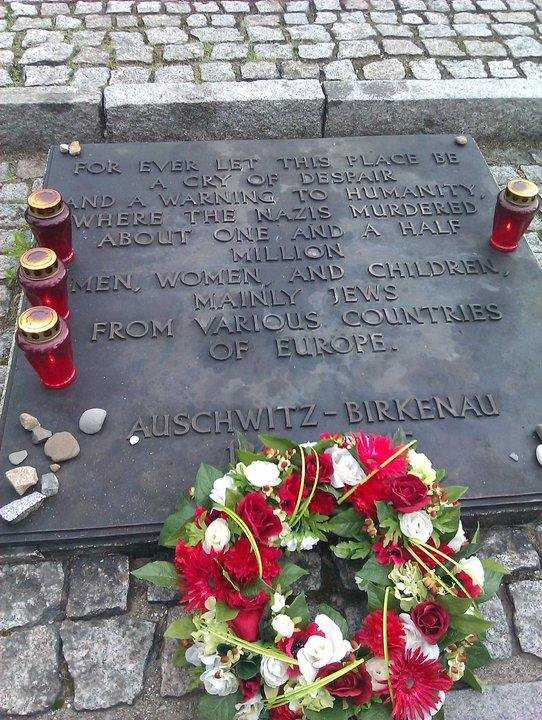 The plaque at Auschwitz-Birkenau