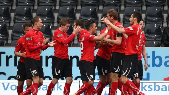 SG Sonnenhof Grossaspach players celebrate their second goal during the Regionalliga Sued match between SG Sonnenhof Grossaspach and Eintracht Frankfurt II on April 15, 2012 in Grossaspach, Germany. (Photo by Thomas Niedermueller/Bongarts/Getty Images)