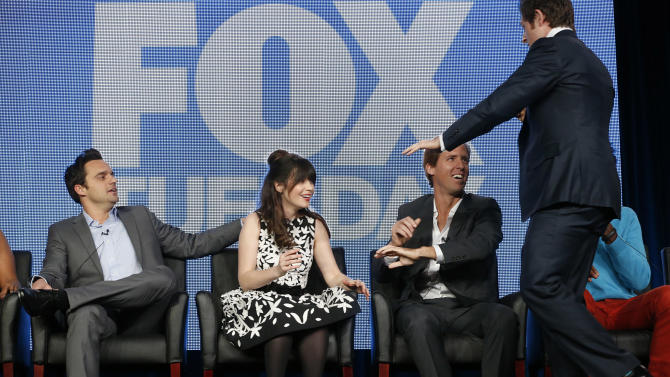 Jake Johnson,  Zooey Deschanel, Nat Faxon and Lucas Neff attend the Fox Winter TCA Tour at the Langham Huntington Hotel on Tuesday, Jan. 8, 2013, in Pasadena, Calif. (Photo by Todd Williamson/Invision/AP)