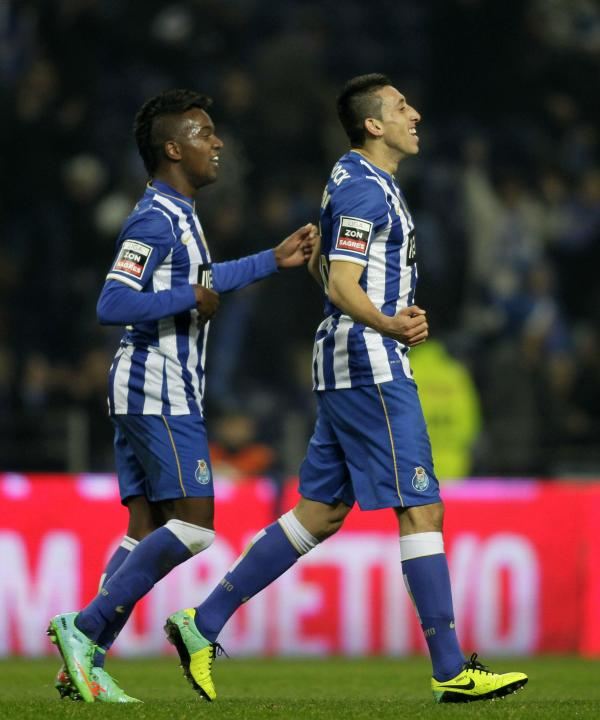 Porto's Herrera celebrates his goal against Olhanense with his teammate Kelvin during their Portuguese Premier League soccer match at Dragao stadium in Porto