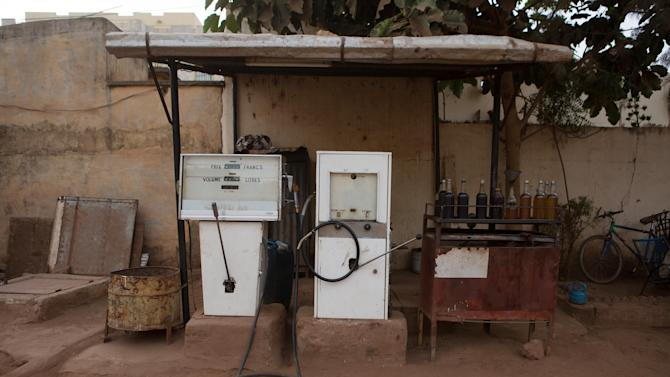Fuel pumps are seen at a filling station in Bamako