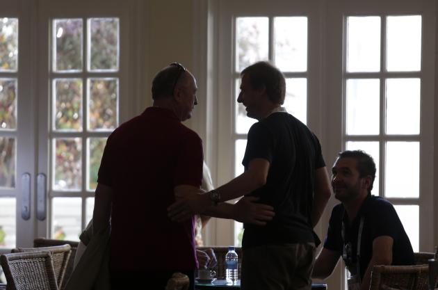 Brazil's head coach Luiz Felipe Scolari talks with U.S. head coach Jurgen Klinsmann at Sauipe Class Hotel ahead of the 2014 World Cup draw at the Costa do Sauipe resort in Sao Joao da Mata, Bahia