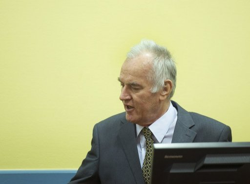 <p>Former Bosnian Serb army chief Ratko Mladic, pictured in May 2012, was released from hospital and sent back to his cell Friday after being taken ill at the Yugoslav war crimes trial a day earlier, an official said.</p>