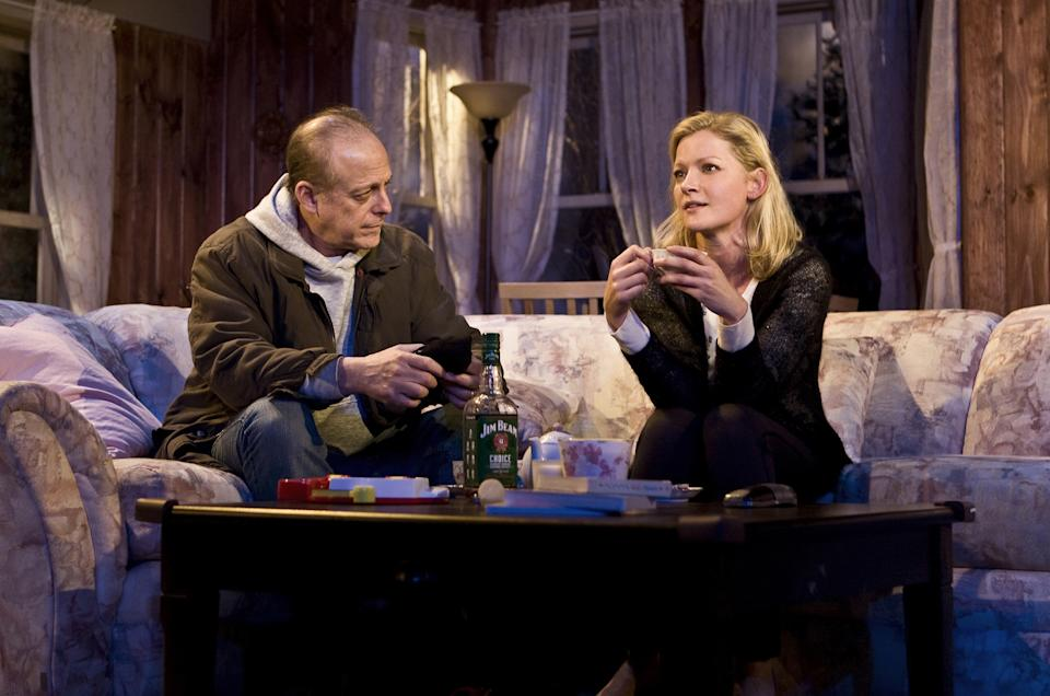 "This theater image released by Seven17 Public Relations shows Mark Blum, left, and Gretchen Mol, in a scene from Francine Volpe's ""The Good Mother"", currently performing off-Broadway in a New Group production at Theatre Row in New York. (AP Photo/Seven17 PR, Monique Carboni)"