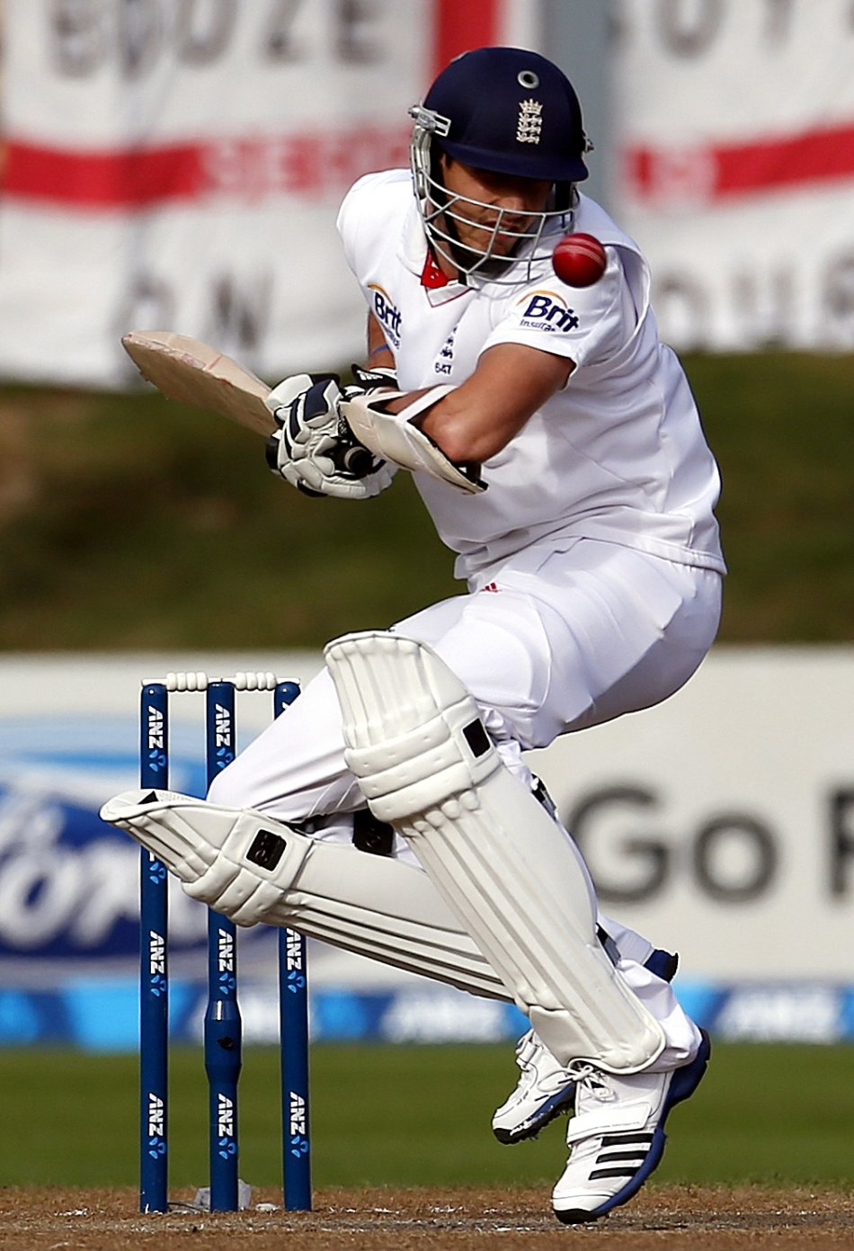 England's Finn tries to avoid a bouncer bowled by New Zealand's Southee during the fifth day of the first test at the University Oval in Dunedin