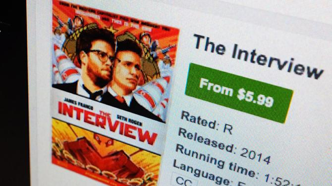 "A computer screen shows Sony Pictures' film, ""The Interview"" available for rental on YouTube Movies Wednesday, Dec. 24, 2014, in Los Angeles. ""The Interview"" became available for rental on a variety of digital platforms Wednesday afternoon, including Google Play, YouTube Movies, Microsoft's Xbox Video and a separate Sony website, Sony Pictures announced. (AP Photo/Richard Vogel)"