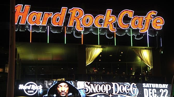 Signage showcases multi-platinum rapper Snoop Dogg headlining prior to performing during an exclusive live concert at Hard Rock Cafe Las Vegas on The Strip on Saturday, December, 22, 2012 in Las Vegas. (Photo by Jeff Bottari/Invision for Hard Rock Cafe/AP Images)