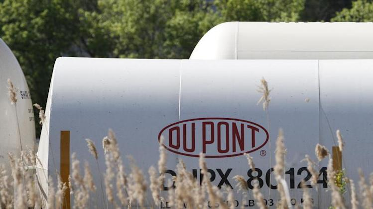A view of the Dupont logo on a train car at the Dupont Edge Moor facility near Wilmington, Delaware