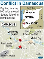 Map of Damascus locating attacks on army general staff compound