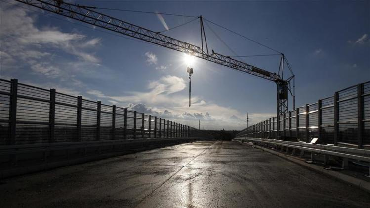 A construction site of part of a ring road is seen in Warsaw city