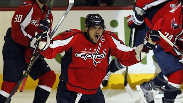 Alex Ovechkin of the Washington Capitals celebrates his goal against the Winnipeg Jets during their NHL hockey game in Washington (Reuters)