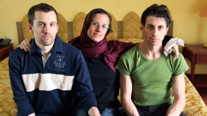 Americans Shane Bauer (left), Sarah Shourd (center), and Josh Fattal (right) were held in Iran's Evin Prison.