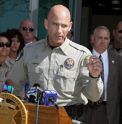 Pinal County Sheriff Paul Babeu speaks at a news conference, Saturday, Feb. 18, 2012 in Florence, Ariz.  Babeu, a sheriff seeking the GOP nomination for an Arizona congressional seat has been forced to confirm he is gay amid allegations of misconduct made by a man with whom he previously had a relationship. Pinal County Sheriff Paul Babeu on Saturday denied claims he tried to threaten the man, who is Hispanic, with deportation if their past relationship was made public. (AP Photo/The Arizona Republic, Deirdre Hamill)  MARICOPA COUNTY OUT; MAGS OUT; NO SALES