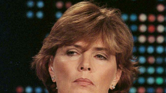 Kathleen Willey, a former White House volunteer, is seen in file photo during an interview with Larry King in Los Angeles