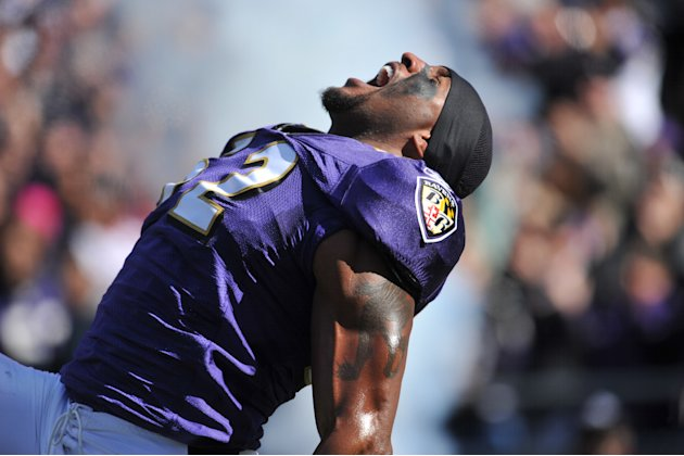 BALTIMORE - OCTOBER 30: Ray Lewis #52 of the Baltimore Ravens is introduced before the game against the Arizona Cardinals at M&T Bank Stadium on October 30. 2011 in Baltimore, Maryland. The Ravens def