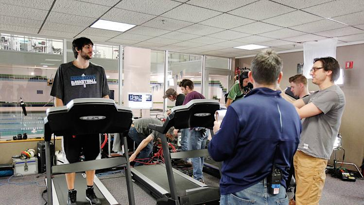 In this Image released on Tuesday, Feb. 05, 2013, Minnesota Timberwolves NBA basketball player Ricky Rubio shoots a Public Service Announcement for Medtronic Foundation's HeartRescue Project showing the proper steps on responding to sudden cardiac arrest (SCA). (Photo by Genevieve Ross/Invision for Medtronic Foundation's HeartRescue Project/AP Images)