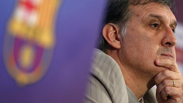 "DATE IMPORTED:July 26, 2013Argentine coach Gerardo ""Tata"" Martino attends a news conference at Camp Nou stadium in Barcelona, July 26, 2013. (Reuters)"
