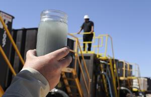 A jar holding waste water from hydraulic fracturing…