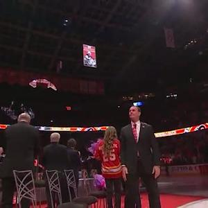 Joe Nieuwendyk's number is sent to rafters