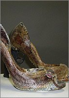One of the animal skinned shoes created by German designer Iris Schieferstein. (iris-schieferstein.de)