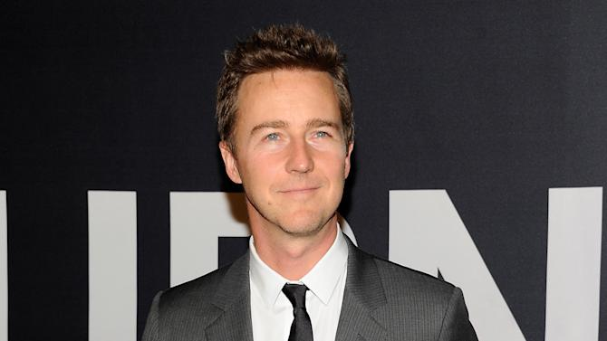 """FILE In this July 30, 2012 file photo, actor Edward Norton attends the world premiere of """"The Bourne Legacy"""" at the Ziegfeld Theatre in New York. Norton, Jonah Hill, Snoop Dogg and several other stars are slated to play in a celebrity tournament of the popular online game """"Words With Friends"""" for charity beginning Sept. 27, 2012. (Photo by Evan Agostini/Invision/AP, File)"""