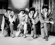 The Beatles (from L), John Lennon, Ringo Starr, George Harrison, and Paul McCartney pose during a rehearsal of William Shakespeare's A Midsummer night's dream on April 29, 1964, in London. The Beatles' debut tune that launched Britain into the '60s and helped to ignite a worldwide obsession for the four-man British rock band celebrates its 50th anniversary on Friday