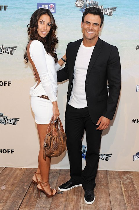 "Jeremy Jackson (R) and model Leilani Dowding arrive at the ""Comedy Central Roast Of David Hasselhoff"" held at Sony Pictures Studios on August 1, 2010 in Culver City, California."