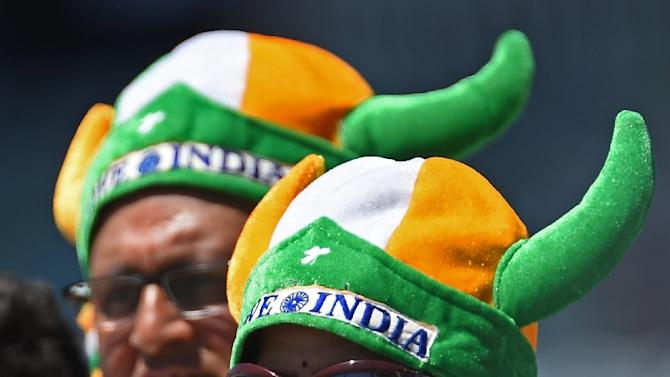 Fans watch the Cricket World Cup Pool B match between the United Arab Emirates and India, in Perth, on February 28, 2015