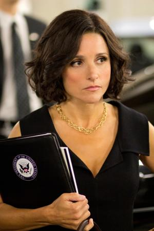 "This Oct. 4, 2011handout photo provided by HBO shows actress Julia Louis-Dreyfus star of the HBO series ""Veep"". Watch out, Joe Biden. The other vice president is in the house.The White House says Louis-Dreyfus, who plays Vice President Selina Meyer on the HBO comedy ""Veep,"" is at the White House to have lunch with Biden. (AP Photo/HBO, Bill Gray)"