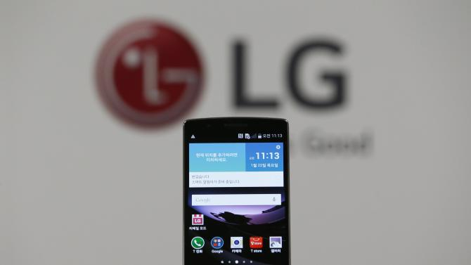 An LG Electronics' G Flex 2 curved smartphone is displayed during its launch event in Seoul