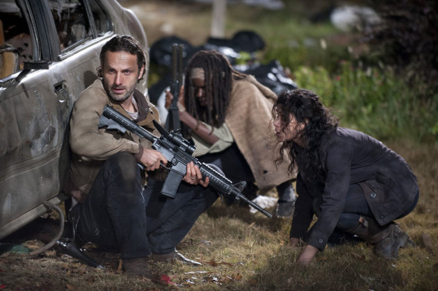 "Rick Grimes (Andrew Lincoln), Michonne (Danai Gurira) and Karen (Melissa Ponzio) in ""The Walking Dead"" Season 3 Finale, ""Welcome to the Tombs."""