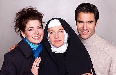 Debra Messing as Grace, Ellen DeGeneres as Sister Louise and Eric McCormack as Will on NBC's Will and Grace