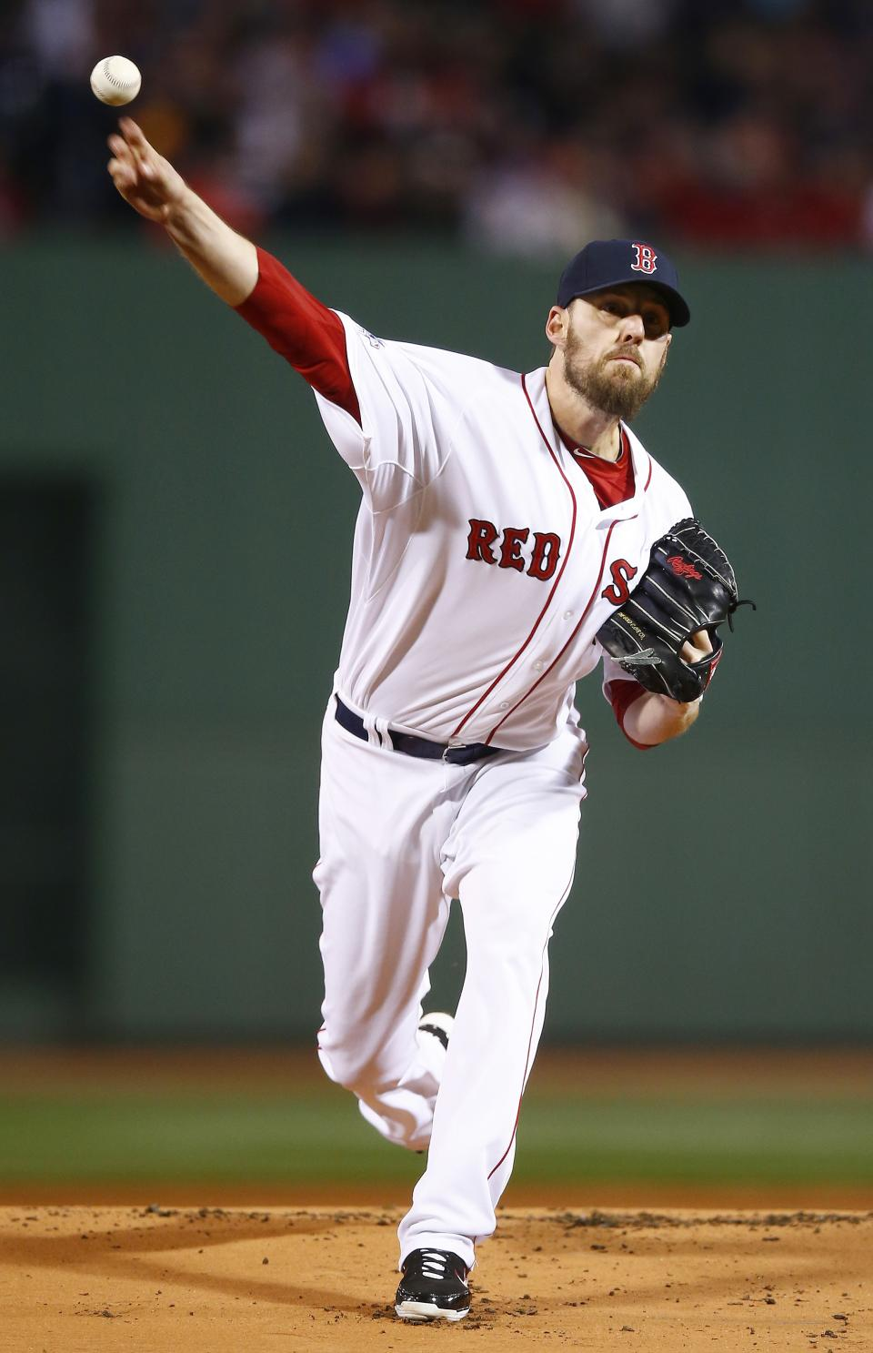 Boston Red Sox starting pitcher John Lackey throws during the first inning of Game 2 of baseball's World Series against the St. Louis Cardinals Thursday, Oct. 24, 2013, in Boston. (AP Photo/Jared Wickerham, Pool)