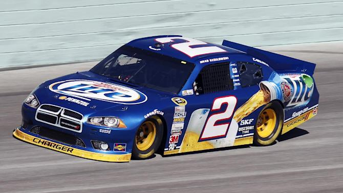 Driver Brad Keselowski practices for Sunday's NASCAR Sprint Cup Series auto race at Homestead-Miami Speedway on Saturday, Nov. 17, 2012 in Homestead, Fla. The final Sprint Cup series race will take place Sunday afternoon.  (AP Photo/Alan Diaz)