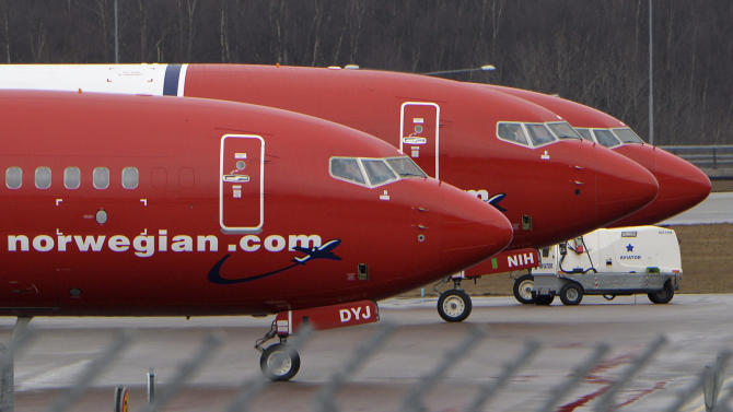Parked Boeing 737-800 aircrafts belonging to budget carrier Norwegian Air are pictured at Stockholm Arlanda Airport