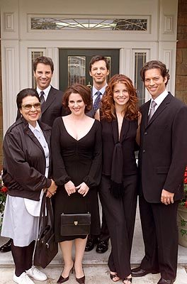 Shelley Morrison, Eric McCormack, Megan Mullally, Sean Hayes, Debra Messing, Harry Connick Jr. on NBC's Will and Grace