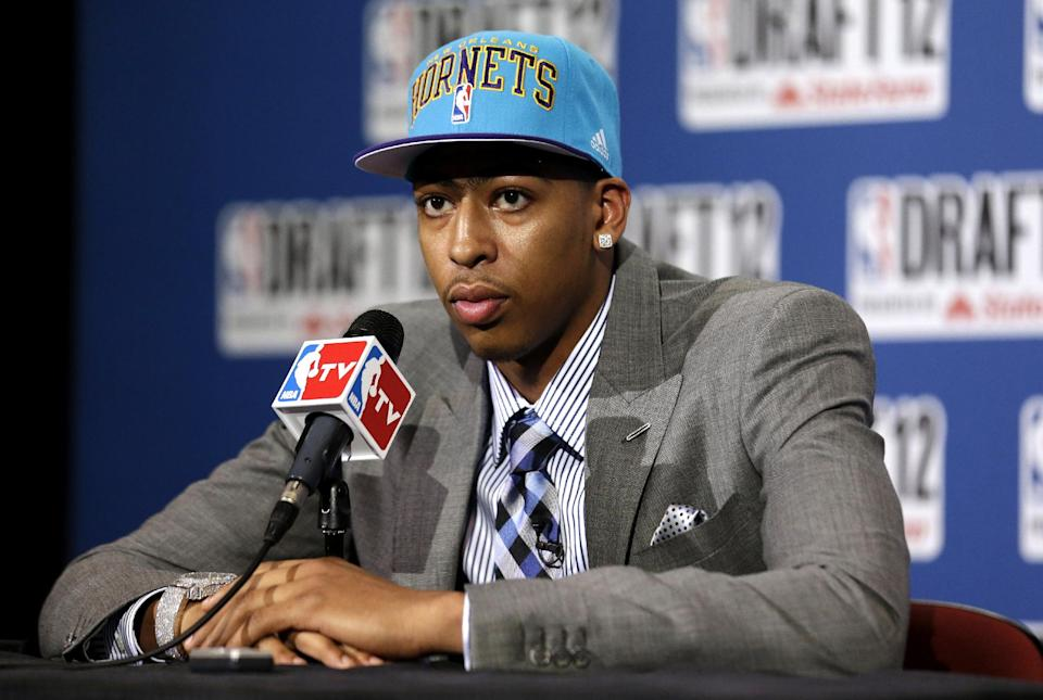 Kentucky's Anthony Davis talks to reporters after being drafted No. 1 overall by the New Orleans Hornets during the NBA basketball draft, Thursday, June 28, 2012, in Newark, N.J. (AP Photo/Julio Cortez)