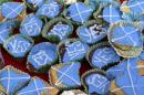 Cakes are seen at a tea-party organised by members of the group 'English Scots for YES' near Berwick-upon-Tweed on the border between England and Scotland