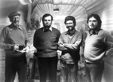 Lawrence Kasdan (far right) on set with Director Irvin Kershner, Producer Gary Kurtz and Star Wars creator, George Lucas.