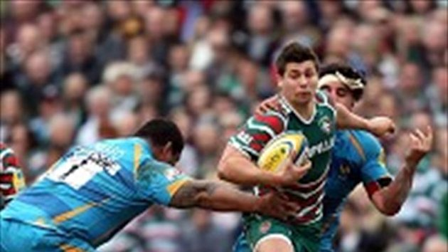 Ben Youngs looks to burst beyond a couple of tacklers during his two-try outing
