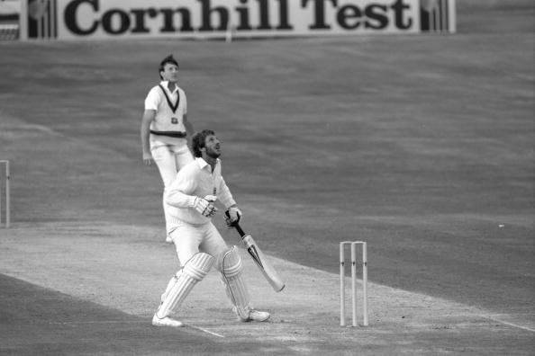 Jul 1981: Ian Botham of England looks skywards as he hits out off Geoff Lawson during his brilliant century in the historic 3rd test between England and Australia at Headingley in Leeds.     Mandatory
