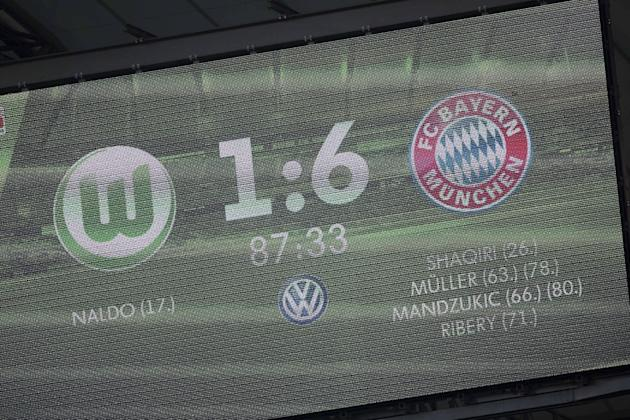 The scoreboard showing the final result of 1-6 is seen during the German Bundesliga soccer match between VfL Wolfsburg and Bayern Munich in Wolfsburg, Germany, Saturday, March 8, 2014. (AP Photo/Gero