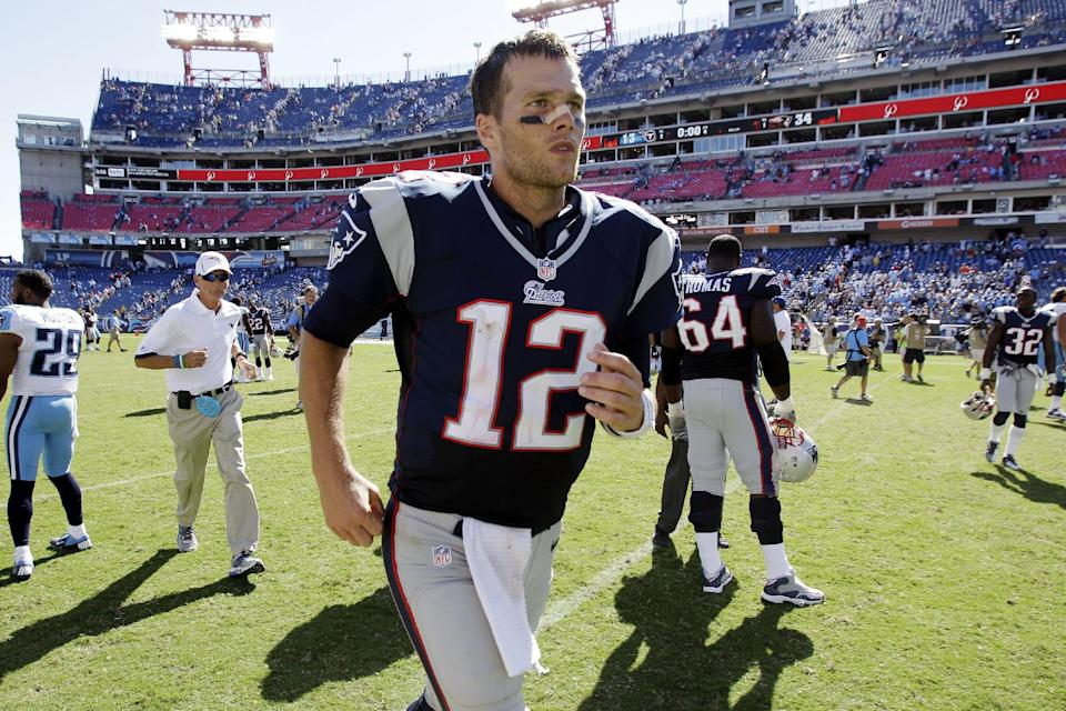 New England Patriots quarterback Tom Brady (12) leaves the field after defeating the Tennessee Titans 34-13 in an NFL football game, Sunday, Sept. 9, 2012, in Nashville, Tenn. (AP Photo/Wade Payne)