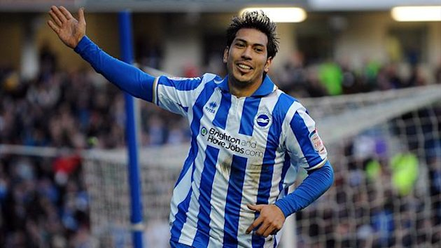 Brighton & Hove Albion's Jose Ulloa celebrates scoring (PA Photos)