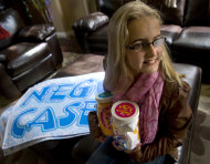"In this April 13, 2011 photo, Jessica Rees, 12, of Rancho Santa Margarita, Calif. shows ""Joy Jars"" she delevoped. Buyers get a t-shirt inside a jar and then fill the jars with ""Joy"" and pass them on to someone else. The proceeds go to pediatric cancer research. Rees, 12, who started a blog and a Facebook page to raise awareness about child cancer has died of brain tumors. Her family says Jessica died Thursday, Jan. 5, 2012 after a 10-month battle with cancer. Jessica Rees began her blog after she became sick in March. Her Internet posts described her feelings and urged her readers to pray for other children with cancer. (AP Photo/Orange County Register, Ana Venegas) MAGS OUT; LOS ANGELES TIMES OUT"
