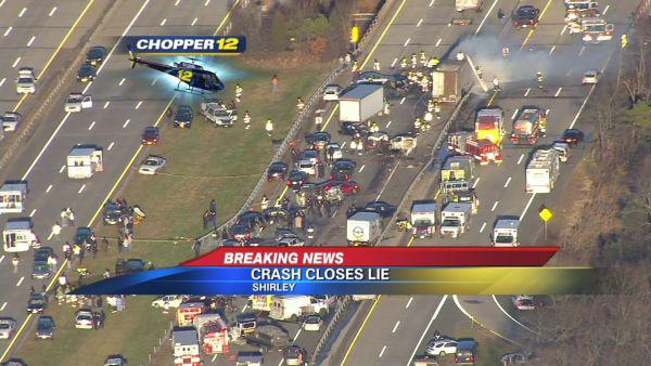 This image taken from video on the News 12 Long Island website shows an aerial view of a multi-vehicle accident on the Long Island Expressway, Wednesday, Dec. 19, 2012, in Shirley, N.Y. Police have closed the Expressway between exits 65 and 69 so first responders can work the scene. Over 20 vehicles are believed to be involved. (AP Photo/News 12 Long Island) MANDATORY CREDIT: NEWS 12 LONG ISLAND