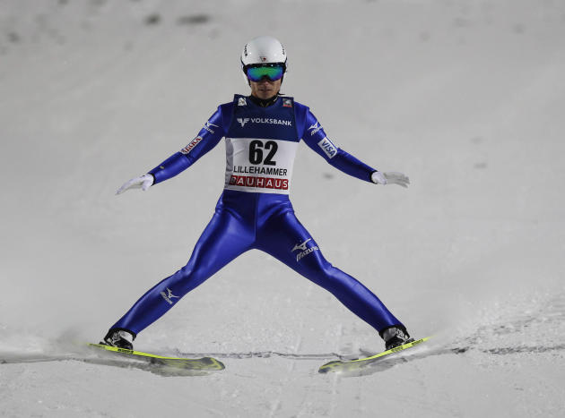 Ito of Japan skis during the FIS World Cup ski jumping event in Lillehammer